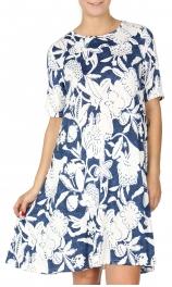 Wholesale K61B Simple short sleeve damask dress PLUS SIZE BLUE