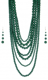 Wholesale M24E 7 Multi Layer Pearl Beads Necklace Set  GN