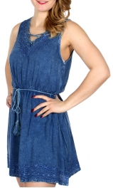 Wholesale Q15-1D Leaf embroidery dress w/ tie up strings Denim