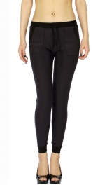 Wholesale B07C Ladies fur lined jogger leggings Charcoal