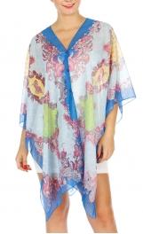 Wholesale I34B Multi Wear Boteh Poncho BL