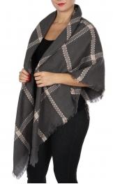 Wholesale Y20E Diamond blanket scarf GRY