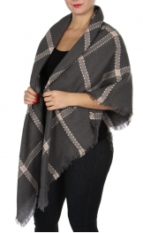 Wholesale Y20E Diamond blanket scarf GRY