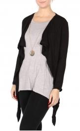 Wholesale Y08D Built-in cardigan top Black/Grey
