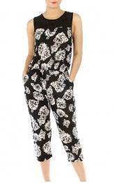 wholesale N09 Floral capri jumpsuit BK