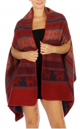 Wholesale P12B Indian Print Woven Cape RED