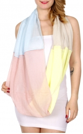 Wholesale H34D Four pastel colorblock infinity scarf