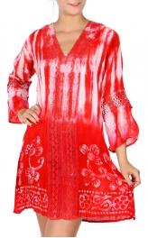 Wholesale H40A Tie dye 3/4 sleeve flower & lace dress BLACK