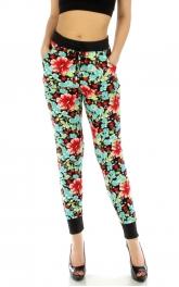 Wholesale E36 Floral jogger pants BL/RD fashionunic