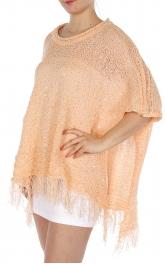Wholesale O04C Tassel trim knitted poncho Black