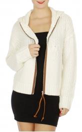 Wholesale N01D Short hooded knit jacket Cream