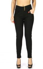 Wholesale C15A Fleece jeggings with zip and pocket Black