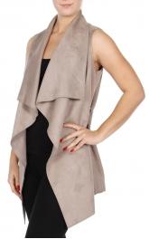 Wholesale R11D Faux suede vest with belt Mushroom