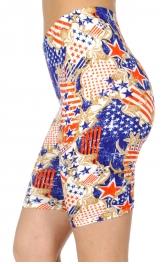 wholesale E40B Filigree & flag softbrush bermuda leggings
