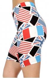 wholesale E40B Multi national flags softbrush bermuda leggings
