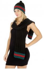 Wholesale O56 Ribbed pompom knit beanie and scarf Black