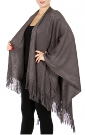 Wholesale S27 Soft knitted Split poncho Rust