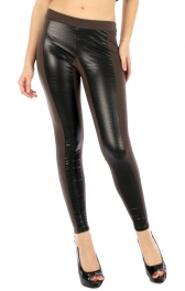 wholesale G05 Crocgrain leatherette leggings Brown S/M