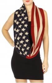Wholesale J11B American Flag Infinity Knit Scarf