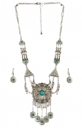 wholesale Metal circles drop necklace set RH TQ