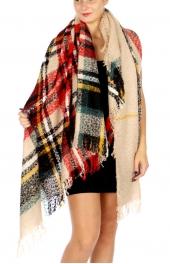Wholesale O22A Oversized Plaid Blanket Scarf BG
