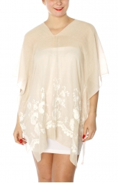 Wholesale I18E Floral embroidery cover up tunic BG