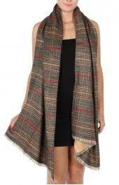 Wholesale T29A Cotton blend reversible plaid scarf BK/BE