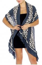 Wholesale P15C Spotted Print Lace Ruffle Shawl BL