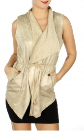 Wholesale N05C Fur lined faux suede vest w/ braided belt Ivory