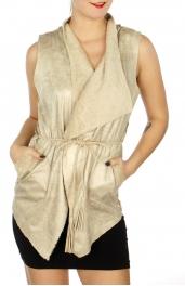 Wholesale N05C Fur lined faux suede vest w/ braided belt Ivory