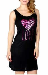 Wholesale Q17-1A LOVE sleeveless nightshirt Black