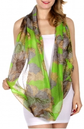 Wholesale-I09C Rustic flower print infinity scarf GN