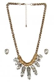 wholesale Clustered stone necklace set GDCL fashionunic