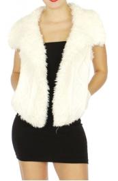 Wholesale N01D Fur lined knit vest Off White