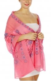 Wholesale I02D Flowers & circles scarf FS