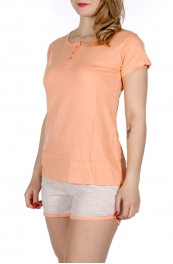 Wholesale F08D Buttoned solid shirts & polk dot shorts pj set Coral