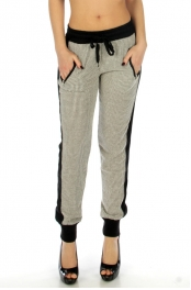 Wholesale K39 Side stipes 2 pockets cotton jogger pants Gray
