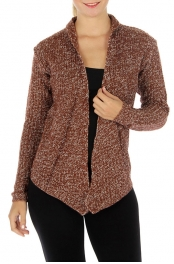 Wholesale S60 Multicolored knit open cardigan Brown