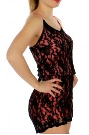 Wholesale J08 Lace layered romper Black