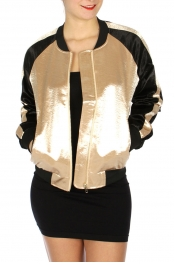 Wholesale N08E Satin contrast bomber jacket BLS/BLK