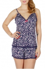 Wholesale K60D Floral print laced camisole & shorts pj set Navy