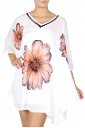 Wholesale S57C Large flower print coverup top White