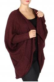 Wholesale T65B Open front knit cardigan Burgundy