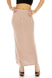 Wholesale G41 Shifted stripe skirt Brown fashionunic