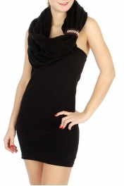 wholesale Solid infinity scarf with faux leather band Black