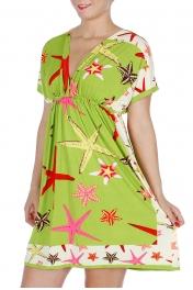 Wholesale H44E Starfish Print Kimono Style Dress Green