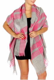 Wholesale P05E Over Sized Two Tone Plaid Scarf w/ Fringe End FC
