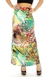 Wholesale C01 Maxi skirts Burgundy/Green fashionunic