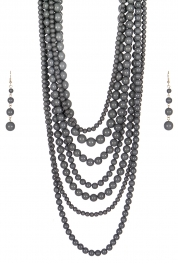 Wholesale M24E 7 Multi Layer Pearl Beads Necklace Set  GY