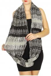 Wholesale S76 Stretchy stripe print scarf Black